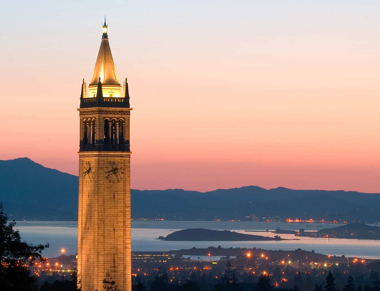 Sather Tower against the sunset